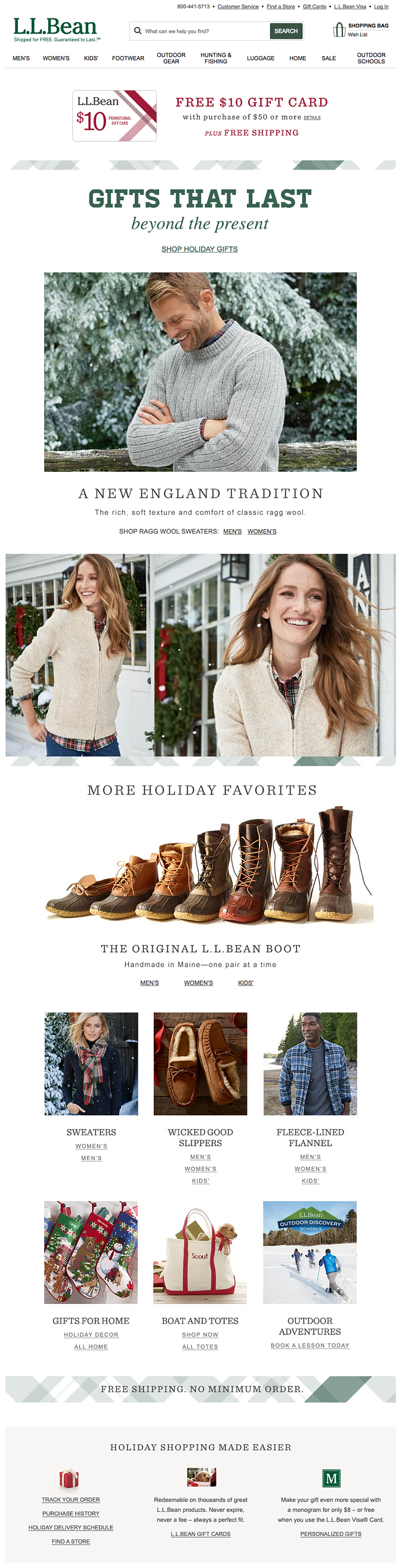 llbean holiday homepage